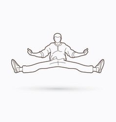 a man dancing action jumping outline vector image