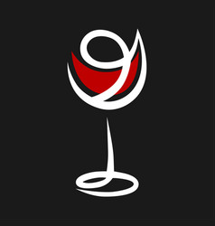 Abstract red wine glass symbol icon vector