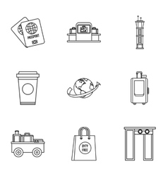Airport icons set outline style vector image vector image