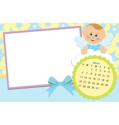 Babys calendar for march 2011 vector image vector image