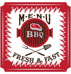 bbq menu card design template vector image vector image