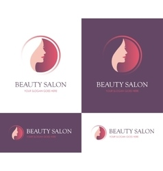 Beauty salon round logo vector