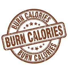 Burn calories brown grunge round vintage rubber vector