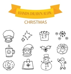 Christmas icons with hand draw vector