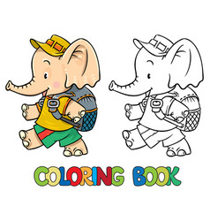 Coloring book of little baby elephant vector