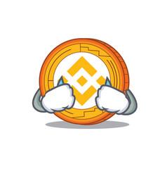 Crying binance coin mascot catoon vector