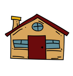 Farm house cartoon hand drawn image vector