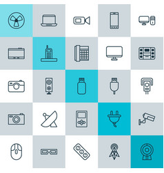 Icons set collection of cctv usb socket and vector