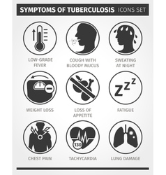 Icons set symptoms of tuberculosis tb vector