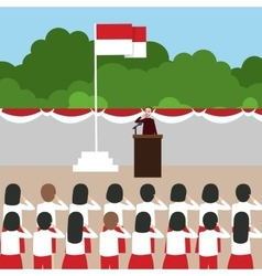 Indonesia flag ceremony school kids during vector image