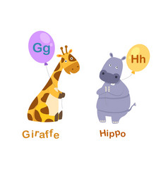 Isolated alphabet letter g-giraffeh-hippo vector
