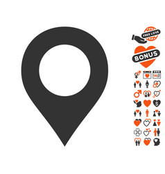 map marker icon with lovely bonus vector image vector image
