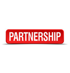 Partnership red 3d square button isolated on white vector