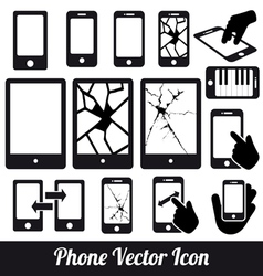 Phone touch communication icons vector image vector image