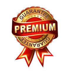 Premium guarantee golden label with ribbon vector