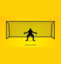 Silhouette goalkeeper vector
