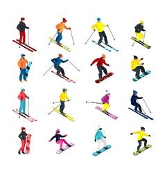 Skiing isometric set vector image vector image