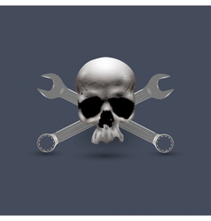 Skull human with spanners vector image