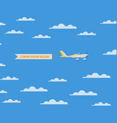 Small propeller airplane with banner in sky vector