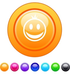 Smiley circle button vector image vector image