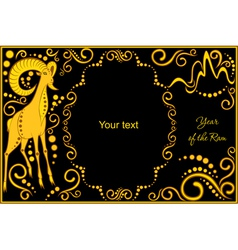 template with sign chinese horoscope ram vector image