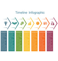 Timeline infographic 7 color arrows vector