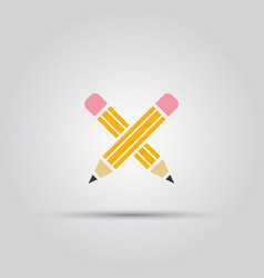 two crossed pencils isolated colored icon vector image