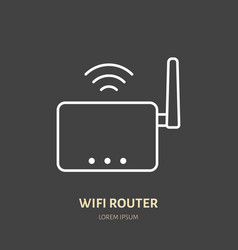 wifi router flat line icon wireless technology vector image