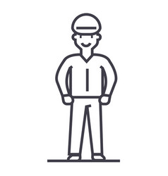 worker line icon sign on vector image