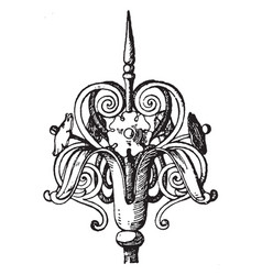 Wrought-iron finial custom vintage engraving vector