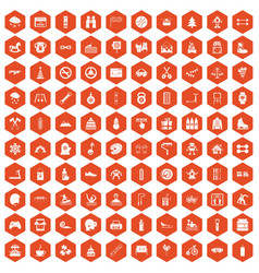 100 children activities icons hexagon orange vector image