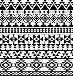 Seamless black navajo print aztec pattern tribal vector