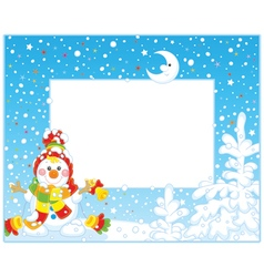 Border with a Christmas Snowman vector image