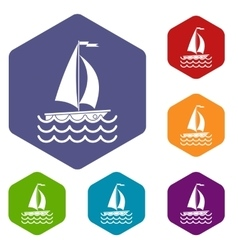 Yacht icons set vector