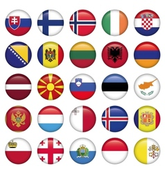 European Buttons Round Flags vector image