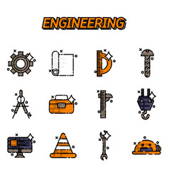 Engineering flat icons set vector