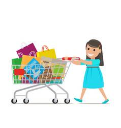 little girl with shopping trolley makes purchases vector image