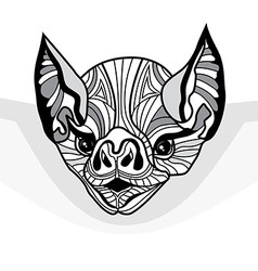 Bat head animal for t-shirt Sketch tattoo vector image