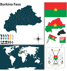 Burkina faso map world vector