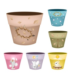 Set of decorative flower pots on white background vector