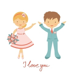 Cute wedding couple vector