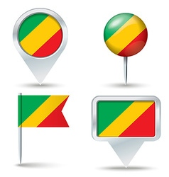 Map pins with flag of republic of congo vector