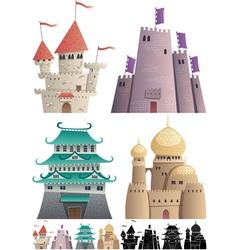 Cartoon Castles on White vector image