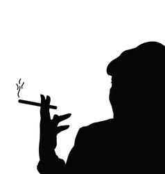 Woman with cigarette black vector
