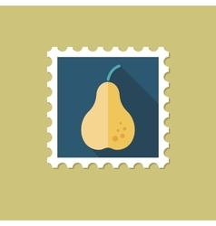 Pear flat stamp with long shadow vector