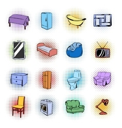 Furniture comics icons set vector