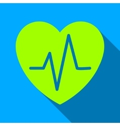 Heart ekg flat long shadow square icon vector