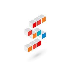 3d cube letter S logo icon design template vector image