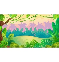 Fun Sunset Jungle Landscape vector image
