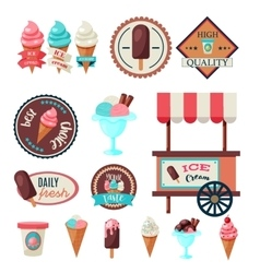 Vintage ice cream label set template vector